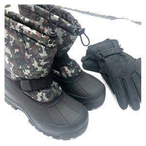 Kids Snow Boots & Gloves Set Brand New